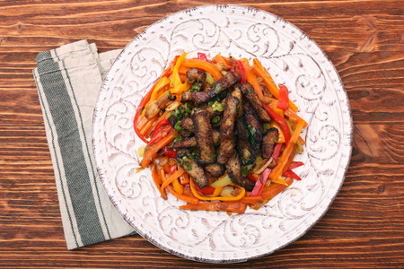 plate: Fried chopped beef with stewed vegetables