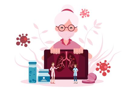 Elderly female patients are being treated by a medical team using diagnostic x-rays. Ilustrace