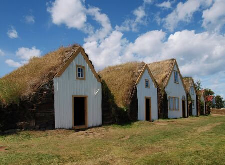 Icelandic traditional turf houses on a bright sunny day Stock Photo - 16742874