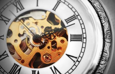 Oude klok machine  Stockfoto