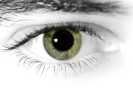globo ocular: Cerca de un mans ojos Foto de archivo