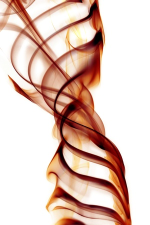 amber coloured: Brown smoke in white background Stock Photo