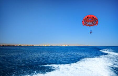 Sport activity - Parasailing over the Mediterranean sea