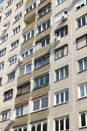 faade: typical socialist block of flats in Warsaw, Poland.