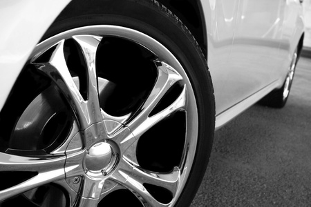 chrome wheels: Detail of a beauty and fast sportcar