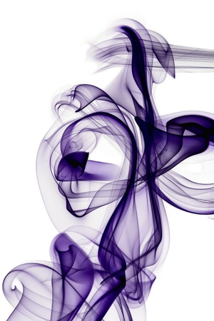 Lilac smoke in white background