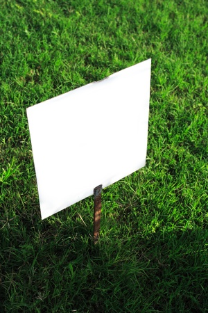 clear signboard on green grass photo