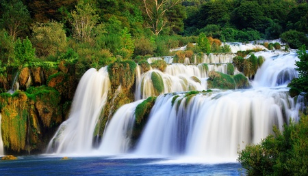 unspoilt: A silky waterfall in the unspoilt nature Stock Photo