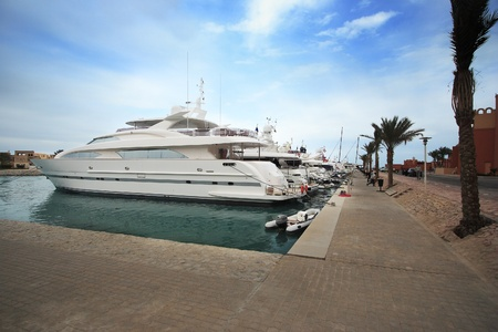 super yacht: Luxury yachts at El Gouna, Egypt, on the Red Sea.