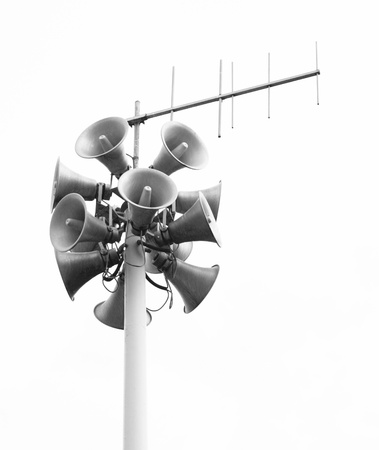 soundsystem: Lots of loudspeakers on a tall column