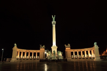 Heroes square by night in Budapest, Hungary photo