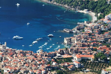 aerial view to the Vis town in Croatia photo