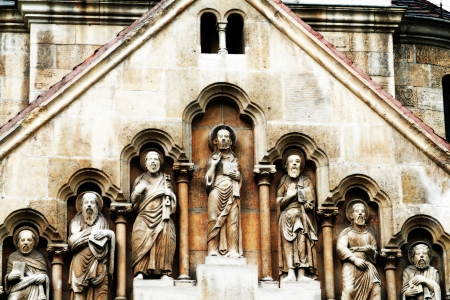 Entrance to a church next to abbey in Vajdahunyad Castle in Budapest, Hungary  photo