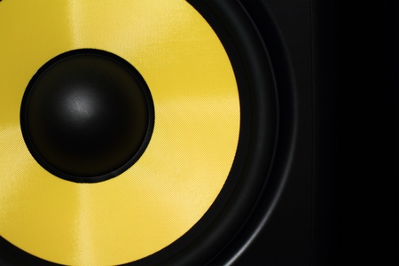 Closeup of a yellow speaker sub woofer Stock Photo - 15211099