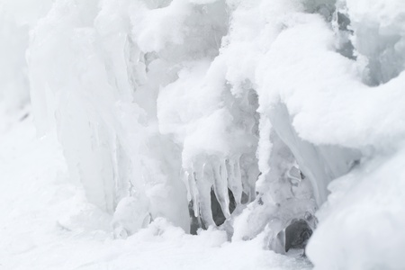 wintrily: icicles sparkling white ice hanging down Stock Photo