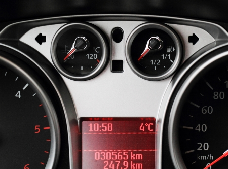 Close up of car dashboard on sports car photo