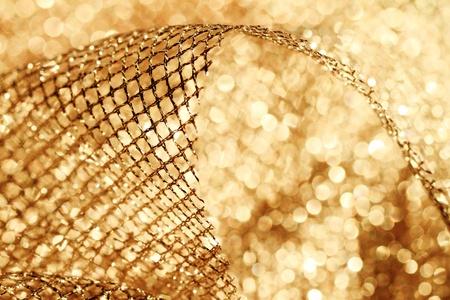 lustrous elegant golden fabric - macro photo