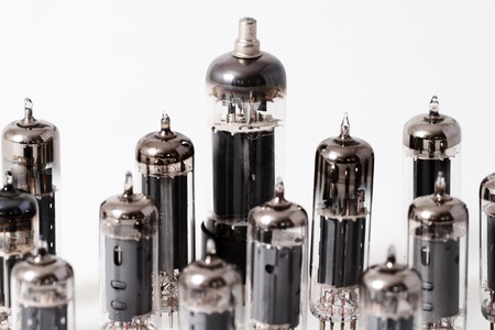 Glass vacuum radio tubes   Isolated image on white background photo