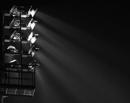 darck: The Stadium Spot-light tower  darck background  Stock Photo