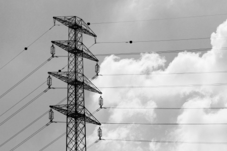Detail of electricity pylon  Black and white  photo