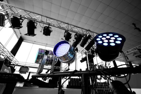 Studio lighting equipment high above Stock Photo