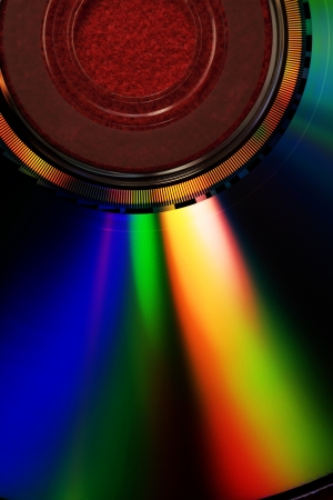 Compact disk isolated on black background photo