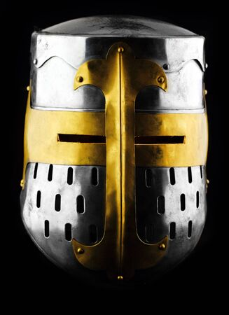 Iron helmet of the medieval knight photo