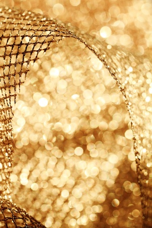 Lustrous elegant golden fabric - macro Stock Photo - 17116534