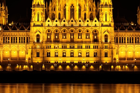 Budapest Parliament building in Hungary at twilight  photo