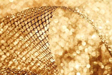 lustrous elegant golden fabric - macro Stock Photo - 17410169