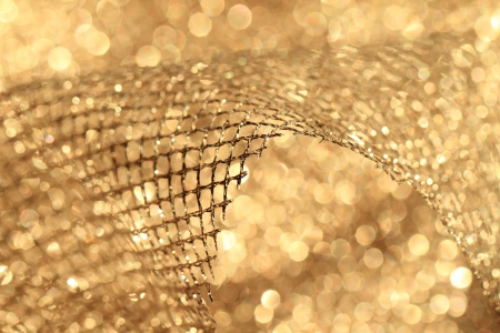 lustrous elegant golden fabric - macro Stock Photo - 17432137