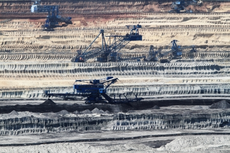 coal mine: Coal mining in an open pit Stock Photo