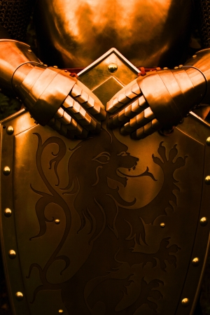 ancient warrior: Armour of the medieval knight - with brown color Stock Photo