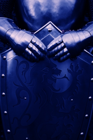 Armour of the medieval knight- with blue color photo