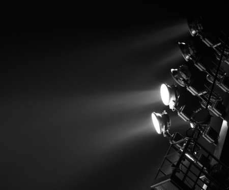 famous industries: The Stadium Spot-light tower  dark background