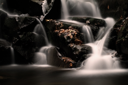 Waterfall in the autumn Stock Photo