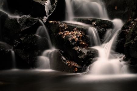 Waterfall in the autumn Stock Photo