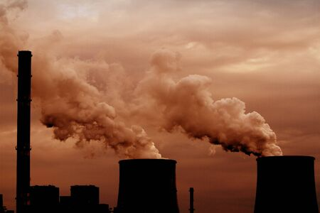 Coal power plant with chimney and cooling towers Stock Photo - 19873335