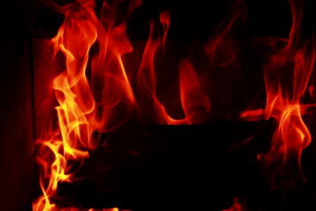 Fire flames with reflection on black background Stock Photo - 20286304