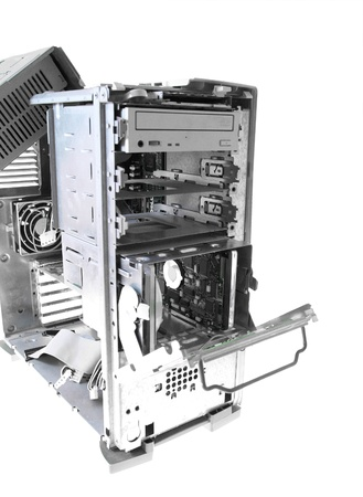 Computer case interior with hard drive photo