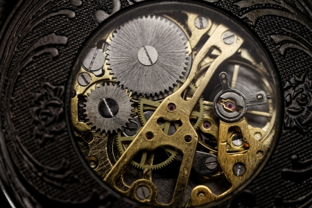 escapement: watch mechanism very close up Stock Photo