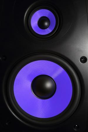 sub woofer: Closeup of a purple speaker sub woofer