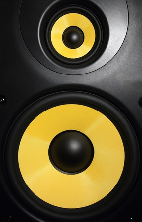 Closeup of a yellow speaker sub woofer Stock Photo - 21061008