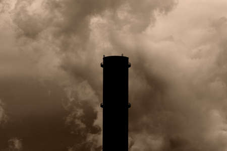 Coal power plant with chimney and cooling towers photo