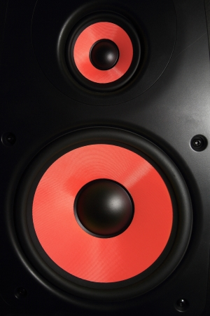 sub woofer: Closeup of a red speaker sub woofer