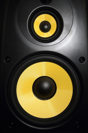 Closeup of a yellow speaker sub woofer Stock Photo - 21070480