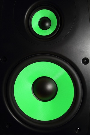 sub woofer: Closeup of a green speaker sub woofer Stock Photo