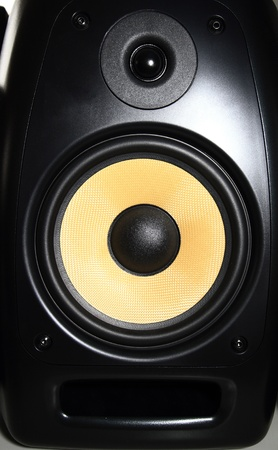 Closeup of a yellow speaker sub woofer Stock Photo - 21152068