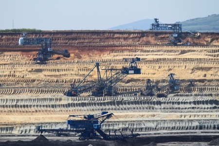 chiming: Coal mining in an open pit Stock Photo