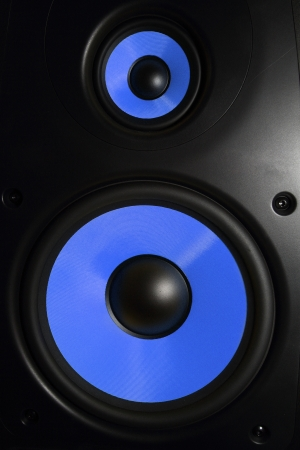 Closeup of a blue speaker sub woofer Stock Photo - 21185588